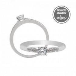 Anell d´or blanc de 18 quirats i diamants - 470-00542