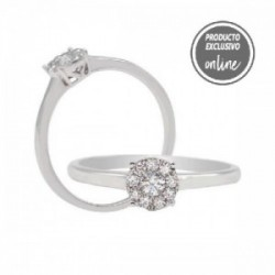 Anillo de oro blanco y diamantes - 470-00004