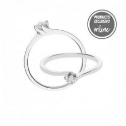 Solitario de oro blanco y diamante - 488-00448