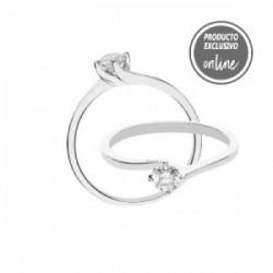 Solitario de oro blanco y diamante - 488-00449