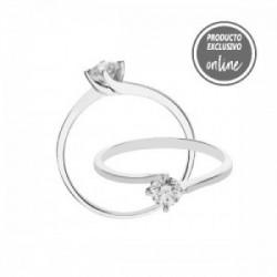 Solitario de oro blanco y diamante - 488-00450