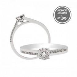 Anillo de oro blanco y diamantes - 470-00113