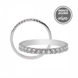 Media alianza garras de oro blanco de 18 quilates y diamantes - 470-00324