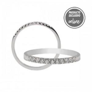Media alianza garras de oro blanco de 18 quilates y diamantes - 470-00325