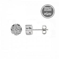 Pendientes de oro blanco roseta de diamantes - 247-00185
